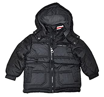 Calvin Klein Little Boys Bubble Fleece Lined Outerwear Jacket (2T, Black)