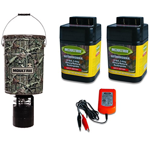 Feeders Battery 6 Volt Charger - MOULTRIE 6.5 Gallon Pro-Hunter Bucket Style Hanging Feeder +6V Batteries/Charger