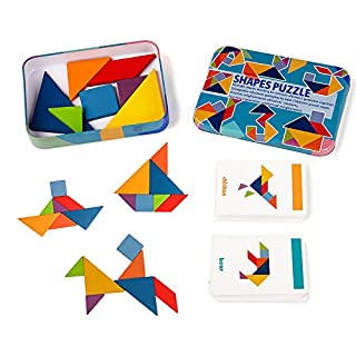 LiKee Wooden Tangram Pattern Blocks Jigsaw Puzzle Sorting and Stacking Games Montessori Educational Toys for Toddlers Kids Boys Girls Age 3+ Years Old and Classroom (7 Pieces and 60 Cards in Iron Box)