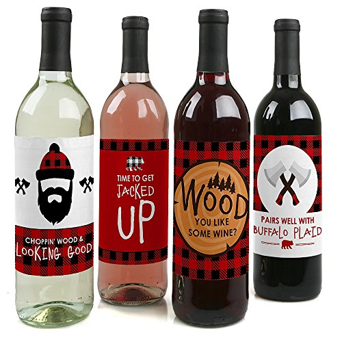 Lumberjack - Channel The Flannel - Buffalo Plaid Wine Bottle Label Stickers - Set of 4 (Label Flannel)