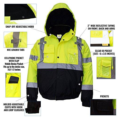New York Hi-Viz Workwear WJ9012-L Men's ANSI Class 3 High Visibility Bomber Safety Jacket, Waterproof (Large, Lime) by New York Hi-Viz Workwear (Image #4)