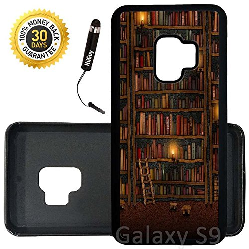 Custom Galaxy S9 Case (Old Bookshelf) Edge-to-Edge Rubber Black Cover Ultra Slim | Lightweight | Includes Stylus Pen by Innosub