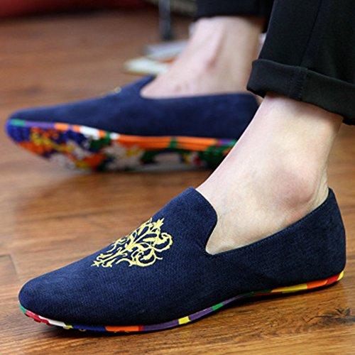 de Casual Loafers Hombres Azul de Conducción Bordado Pisos Mocasines Hombres Zapatos Zapatillas Gamuza AARDIMI nqC6Tw