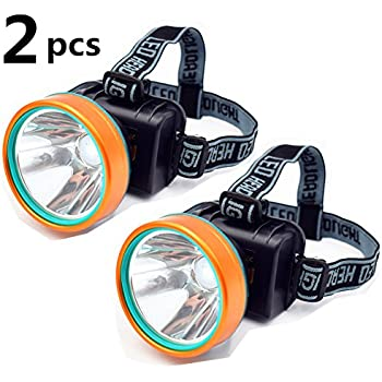 Obvie 2Pcs Waterproof 50W 2600ft Bright Range Keep Working 26+hrs LED Headlamp Torch Outdoor Rechargeable Headlight for Camping Hunting Fishing high ...