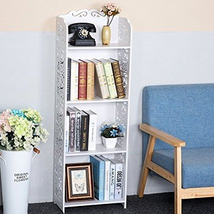 C&AHOME 4 Tier DIY Storage Rack Portable Bathroom Shelf Organizer Shoe Rack Bookcase, White by C&AHOME