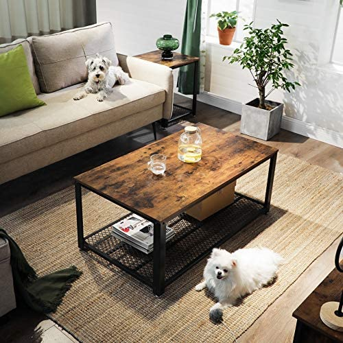 VASAGLE Coffee Table, Cocktail Table, Easy to Assemble, Industrial Side Table, Bedroom, with Metal Frame, with Storage Shelf, for Living Room, Bedroom, Rustic Brown LCT61X