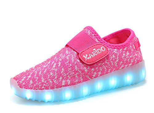 Price comparison product image KALEIDO Kids 7 Colors LED Light up Shoes Sneakers For Boys Girls (10.5 M US Toddler / EU 27,  K-Pink)