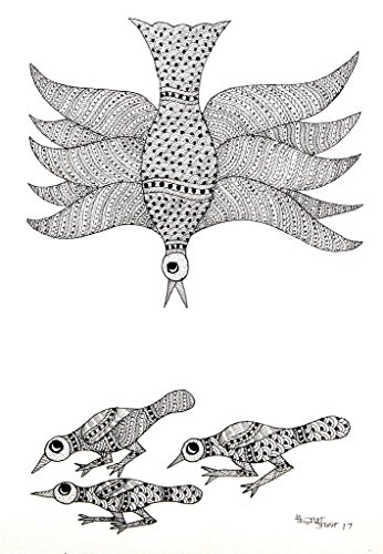 IMI 100% Hand Painted Gond Art Painting for Wall Décor on Handmade Paper, 14 X 10 Inches, Black & White Sparrow)