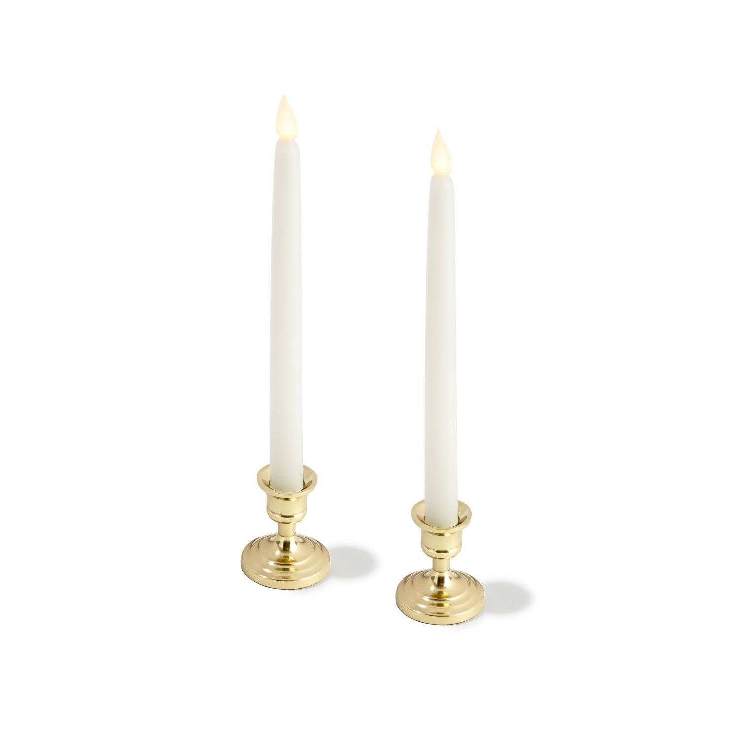 LampLust Brass Finished Taper Candle Holders, 3 Inches, Metal, Traditional Shape, Fits Standard Candlestick Diameters - Set of 2 by LampLust (Image #2)