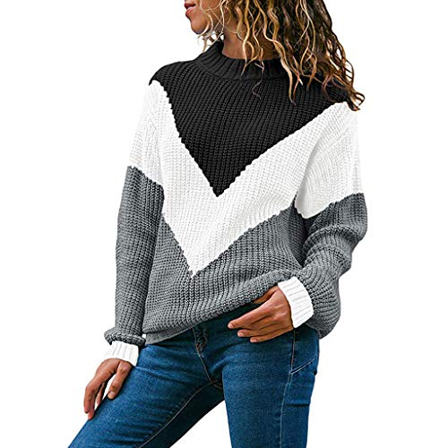 Sweaters for Womens, FORUU Ladies Sales 2019 Winter Warm Under 10 Best Gift for Girlfriend Women Round Neck Color Block Long Sleeve Knitted Sweater Tops Pullover Jumper