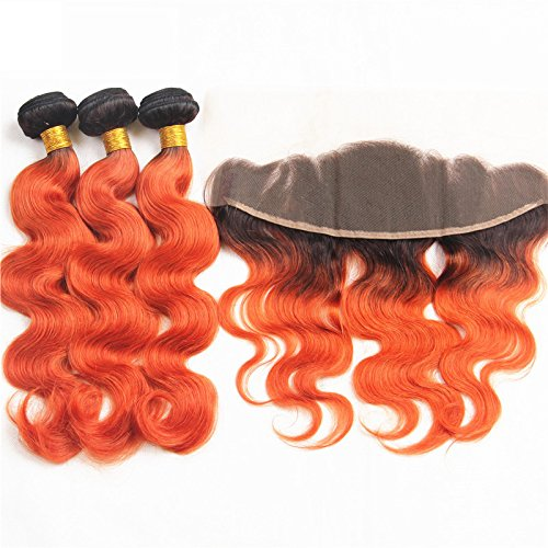 Colored-Body-Wave-T1Orange-Hair-10A-Brazilian-Body-Wave-Remy-Human-Hair-3-Bundles-With-13×4-Lace-Frontal