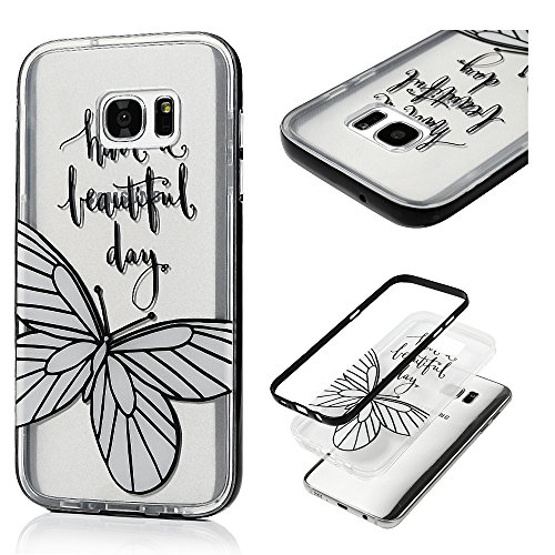 Galaxy S7 Edge Clear Case - BADALink Colorful Painting 2 in 1 Dual Layer Protection with Detachable Hard PC Bumper + Soft TPU Back Cover for Samsung Galaxy S7 Edge (2016) - Have Beautiful (Cute Kids Crafts Halloween)