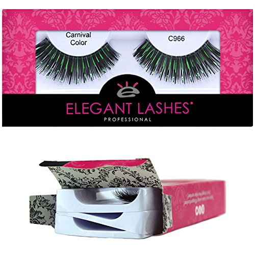 Elegant Lashes C966 Premium Color False Eyelashes (Thick Black False Eyelashes with Green Metallic Mix) Halloween St Patrick's Day Dance Rave Costume -