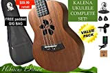Kalena Factory Direct Ukulele with instruction book, strap, tuner, extra strings, felt picks, complete set for all ages (24'' Concert Hibiscus, Warm Mahogany)