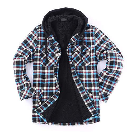 Golden Tree Men Full Zip Hoodie Flannel Jacket Sherpa Lined (Medium, V-Teal,Black)