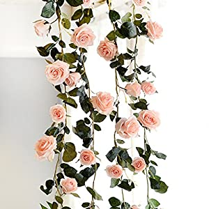 FYYDNZA 180Cm Artificial Rose Flower Ivy Wedding Decoration Real Touch Silk Flowers Chain With Leaves For Home Garland Hanging Decoration 2