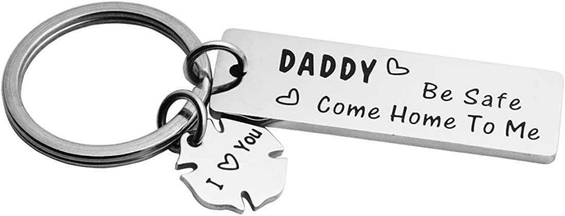 Meibai Daddy Be Safe Come Home to Me Keychain Gift for Police Officer Dad Firefighter Dad