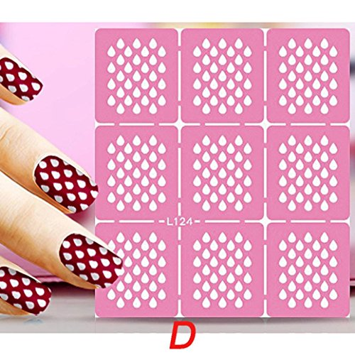 Dolloress 7790mm PINK Finger Toes Nail Art Salon Printing Hollow Out Jet Drawing Transfer Stickers Stencil Manicure Tips Decal DIY Tool