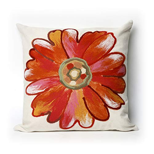 Liora Manne 7S02SA36817 Mystic III Flower Power Orange Indoor/Outdoor Pillow
