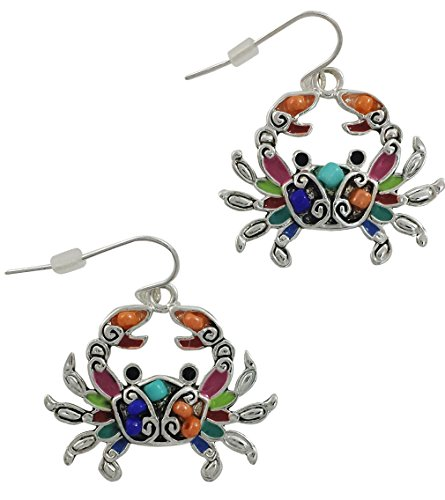 - Silver Plated Mosaic Crab Seed Bead Drop Earrings for Women or Girls