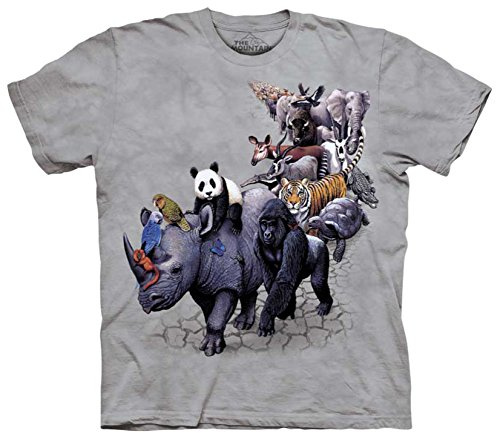 The Mountain Kids Animal Parade T-Shirt, Medium, Gray
