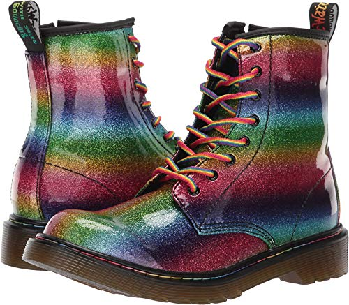 Dr. Martens Kid's Collection Girl's 1460 Patent Glitter Delaney Boot (Big Kid) Rainbow Glitter Pu 5 M UK]()
