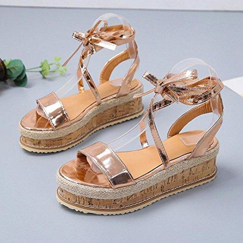 sandalias la de gruesas sandalias impermeables las cuña cuña mujer mujeres romanos mujeres Oro la plataforma verano Las de zapatos ❣JiaMeng de tejida rqrHfwxS