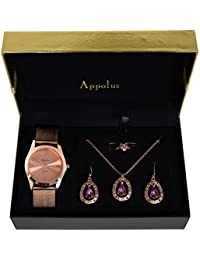 Gifts For Women - Best Gift for Mom Wife Girlfriend Birthday Graduation Anniversary - Appolus Watch Necklace Earrings Ring Set (RoseGold-PurpleStones)