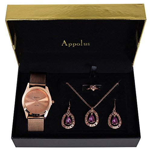 Gifts For Women - Best Gift for Mom Wife Girlfriend Birthday Graduation Anniversary - Appolus Watch Necklace Earrings Ring Set Rose GoldTone (Gift Ideas For Girlfriends Parents For Christmas)