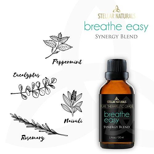 Stellar Naturals Breathe Easy Essential Oil Blend - Pure Therapeutic Grade for Respiratory Allergy, Sinus Relief, Cold, Headache, Congestion - 100% Natural - 1oz/30ml