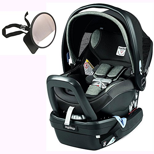 Peg Perego Primo Viaggio Nido Car Seat with Load Leg Base w/ Back Seat Mirror - Atmosphere