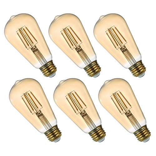 LED Vintage Edison Filament Light Bulb 6 Pack ST19 4.5W Equivalent to 35W, Dimmable Amber Glass Warm White 2200K ...