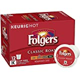 Folgers Classic Roast, Medium Roast Coffee, K-Cup Pods for Keurig K-Cup Brewers, 12-Count (Pack of 6)