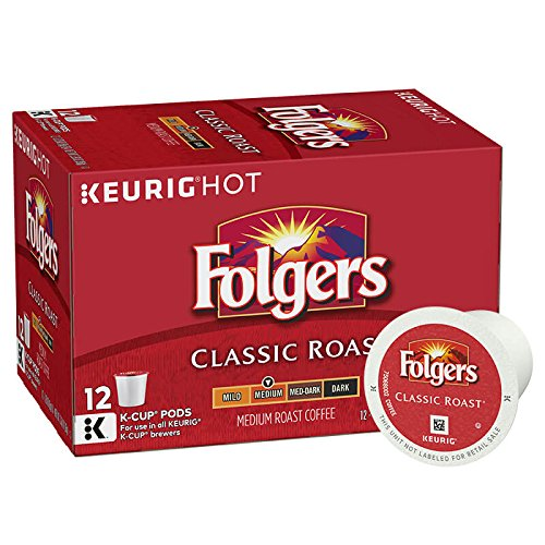 Folgers Medium Roast Coffee - Folgers Classic Roast, Medium Roast Coffee, K-Cup Pods for Keurig K-Cup Brewers, 12-Count (Pack of 6)