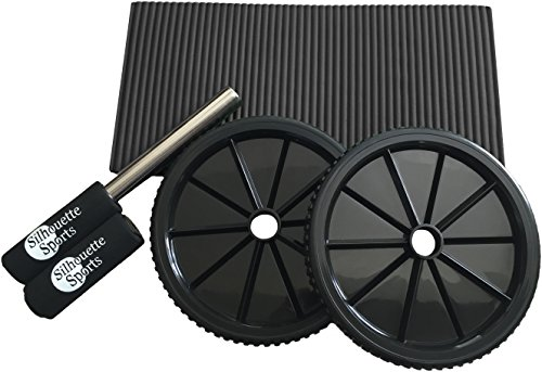 Ab Roller with Comfort Knee Pad (Black) and Soft Foam Handles - Pro Abdominal Exercise Roller - Best Core Fitness Workout for Six Pack Abs (Black)