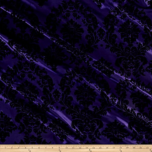 Ben Textiles Flocked Damask Taffetta Purple/Black, ()