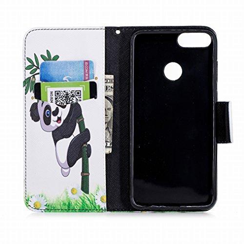 LEMORRY Handyhülle Huawei P Smart Leder Tasche Flip Beutel Haut Slim Magnetisch Soft SchutzHülle Weich Silikon Cover mit Kartenschlitz Hülle Schale für Huawei P Smart, Schöner Panda