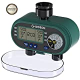 Gideon Dual-valve Hose Irrigation Water Timer Sprinkler System Controller – Battery Powered; Easy Lawn Garden Hose Connection Valve with Simple to Use Digital System for Water Sprinkler [UPGRADED]