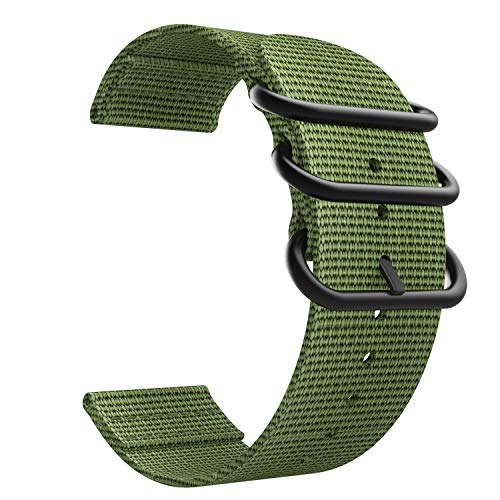Emibele 20mm Universal Watch Band, Fine Woven Nylon with Stainless Steel Buckle Adjustable Replacement Band for 20mm Sport Strap, Army Green