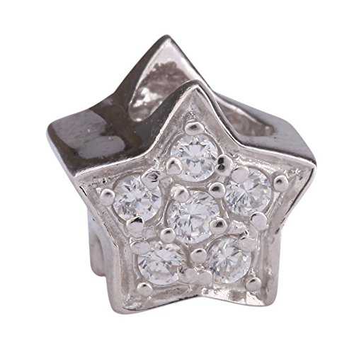 Swarovski Crystal Shining Beads (Sterling Silver My Shining Star Charm Bead Swarovski Crystal for European Charm Bracelets #EC76)