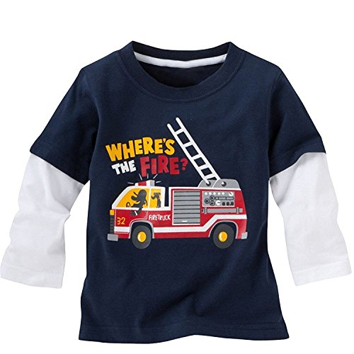 Warmbaby Toddler Boys Kids Long Sleeve T-Shirts 2T Navy Fire Truck