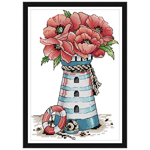 lipiny Flower Lighthouse Crafts Counted Cross Stitch Kit DIY 14CT Set for Embroidery Decoration