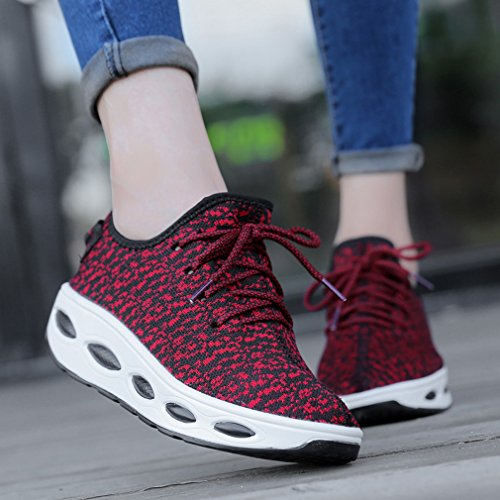 Solshine Women's Platform Wedge Heel Light Weight Lace up Running Shoes Trainers Sneakers Casual Shoes Red 2 kAHXFrg
