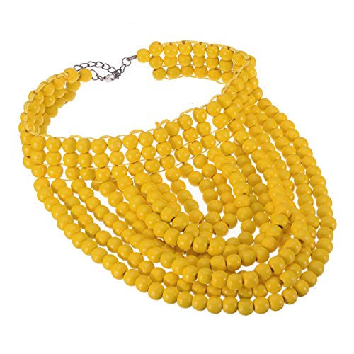 Fashion Wooden Yellow Statement Collar Necklace, Beads Strand Chain Cluster Choker Chunky Bib Necklace African Beads Jewelry (Yellow)