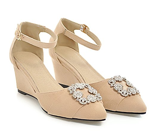 Aisun Women's Daily Rhinestones Buckled Wedge Heels Sandals Apricot mM34oG