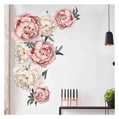 Wall Decals, Flowers Rose Peony Wall Sticker Murals Vintage Art DIY Romovable Decals Nursery TV Background Kids Gilrs Rooms Bedroom Decor Gift (Multicolor)
