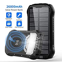 Solar Charger 26800mAh, Qi Wireless Port...