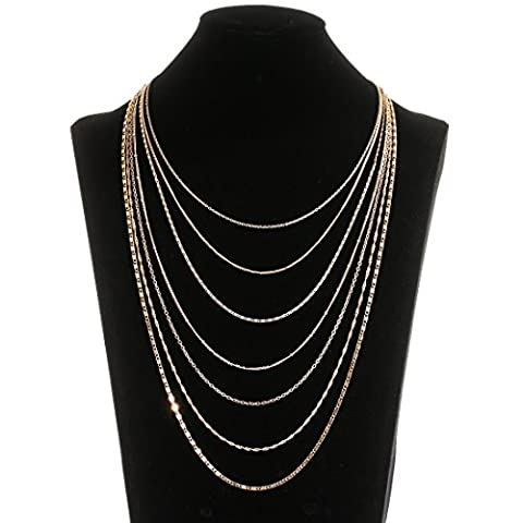 ELEARD Women Multi Chain Necklace Waterfall Multi Strand Jewel Chain Tassel Necklace Gold (Multi Strand Statement Necklace)