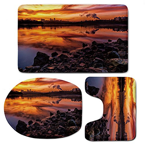 (3-Piece Bath Mat Set Bath Rug Set,Landscapefor Kitchen, Shower, and Toilet,USA Missouri Kansas City Scenery of a Sunset Lake Nature Camping Themed Art Photo)