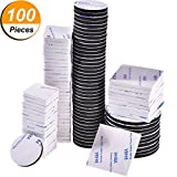 100 Pieces Double Sided Adhesive Foam Pads Strong Adhesive Mounting Tape, Square and Round, Black and White